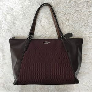 Coach Ava jacquard & leather oxblood burgundy tote